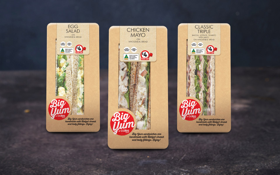 Coles Express sandwiches in three flavours