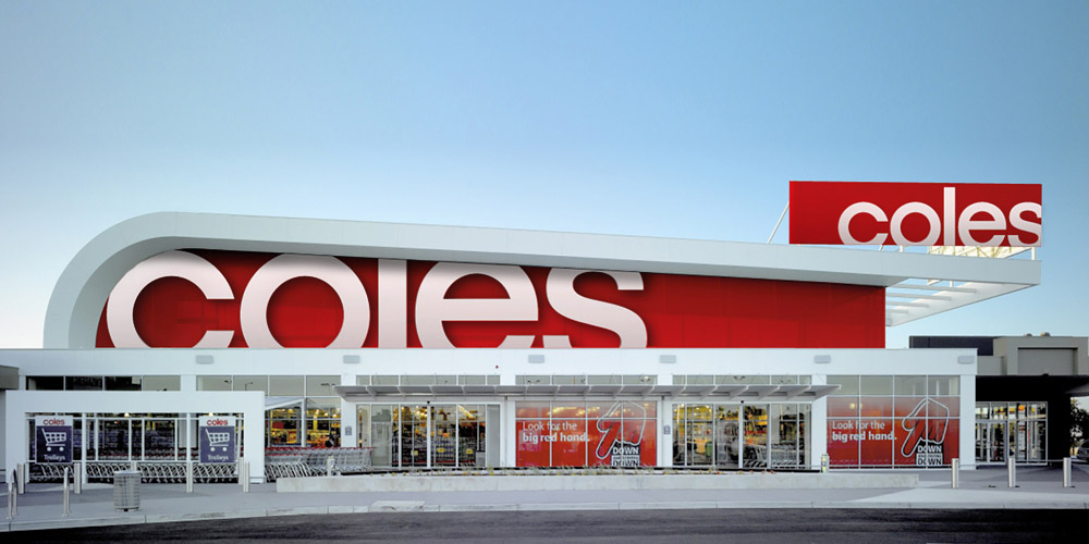 Coles Supermarkets store exterior with down down red hand