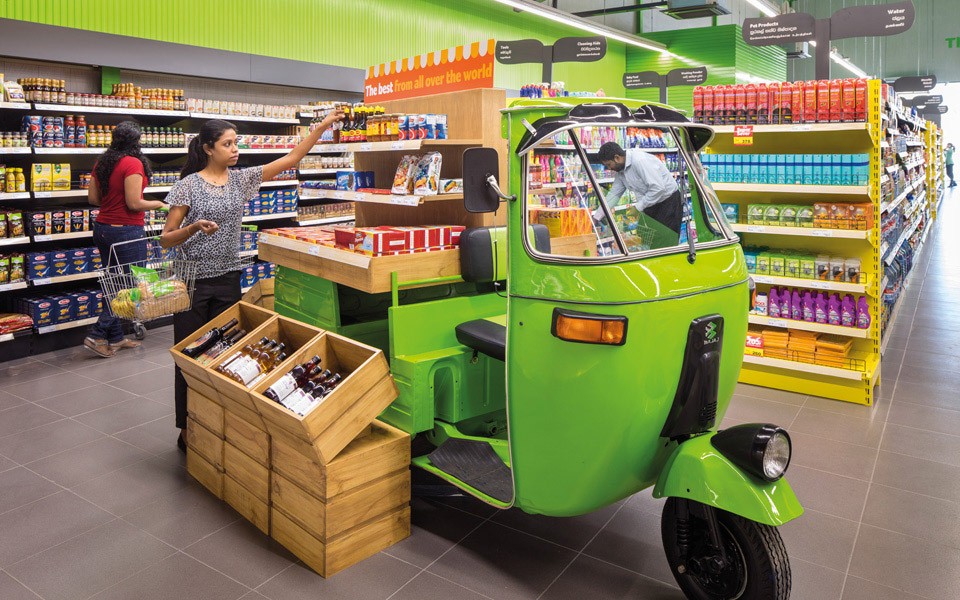 Keells green tuk tuk with shelves for POS