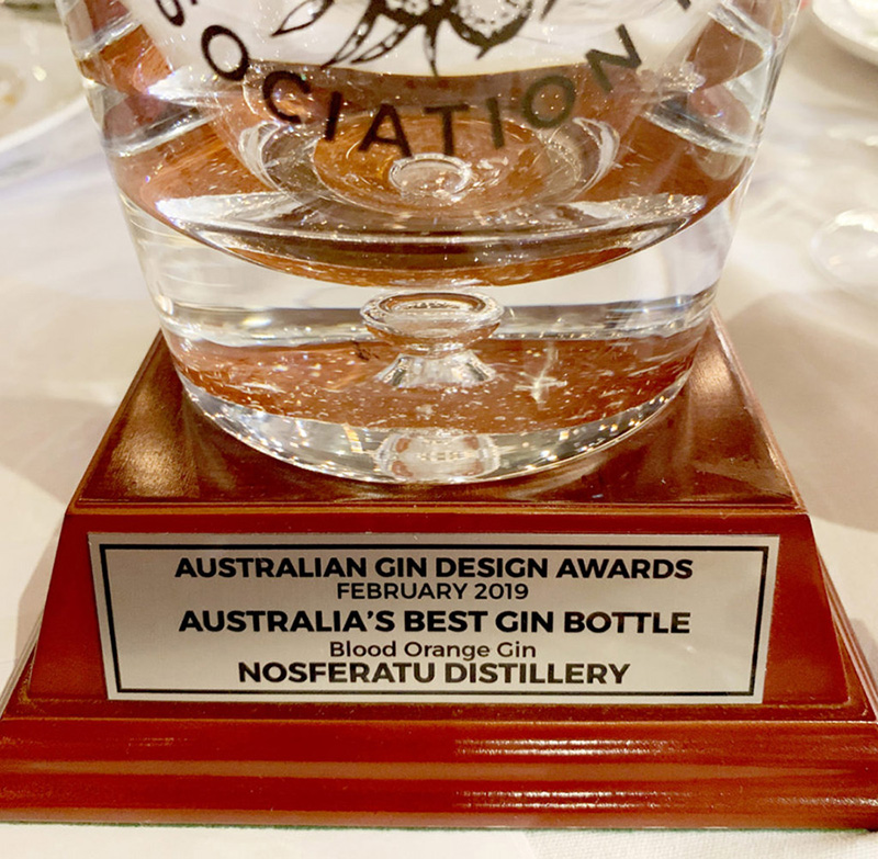 Australian gin design awards trophy 2019 fro Nosferatu blood orange gin